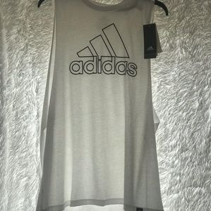 New White and Black Adidas Tank Top